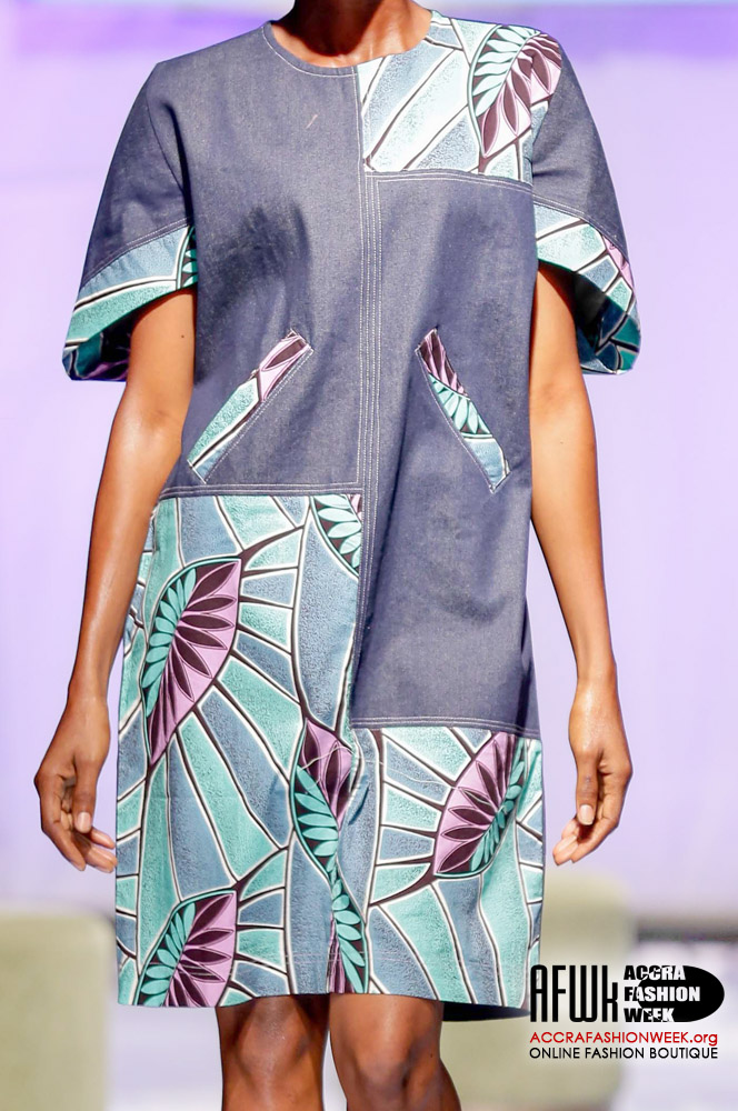 ad012b3fe3 Sara Q Denim Shift Dress With African Print Designs – Accra Fashion ...